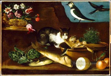 Still life with cat Oil Paintings